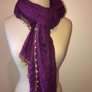 LUCKY BRAND (Viscose) BOHO PLUM/GOLD SCARF NWOT